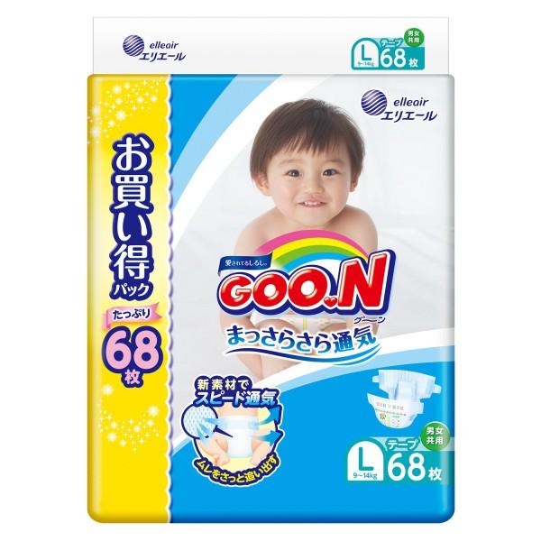 GOO.N Baby Windeln Größe L (9–14 kg) Jumbo Pack 68 Stück