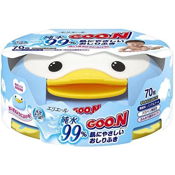 GOO.N Baby Feuchttücher Pinguin-Box 70 Feuchttücher, 99% reines Wasser